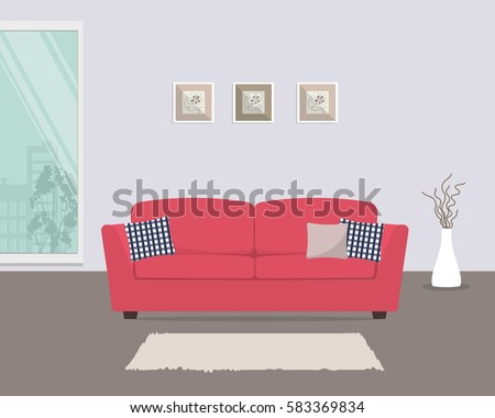 living room with red sofa and