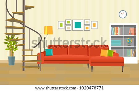 Living room with sofa, bookcase and circular staircase. Vector flat style illustration