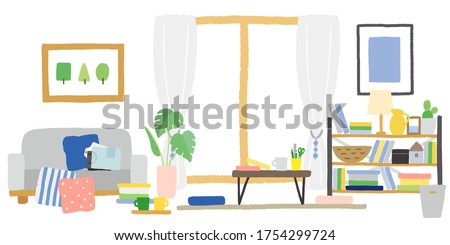 Living room with things cluttered up Photo stock ©