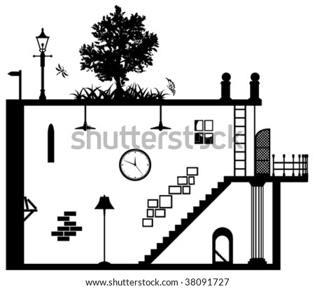 Living space vector abstract, black and white