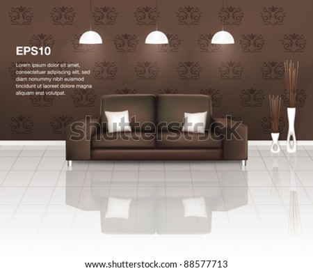 Living Space with Brown Sofa (EPS10)