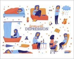 Living with depression set - young unhappy woman sleeping, overeating, drinking alone, crying, sitting in shower, lying flat, visiting a therapist, vector illustration isolated on white background