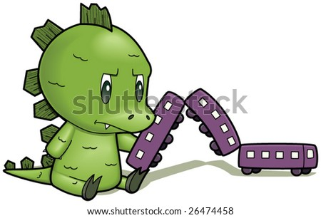 Lizard Boy playing with a train - isolated on white - vector illustration