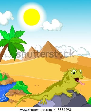lizard cartoon with desert and