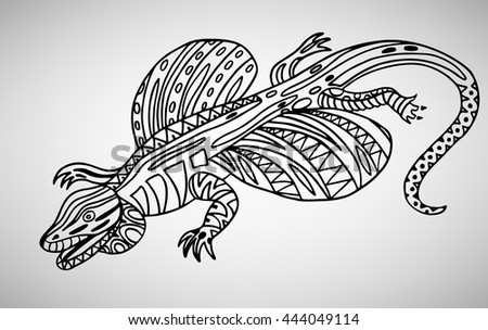 Lizard Handdrawn With Ethnic Pattern Coloring Page Isolated On Extraordinary Zendoodle Patterns