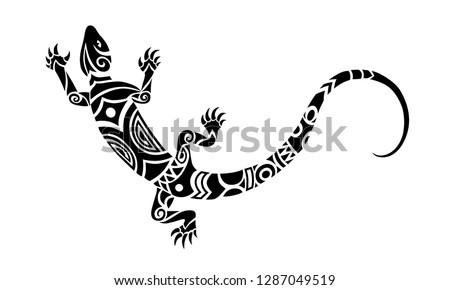 lizard maori style tattoo