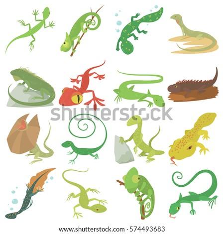lizard type animals icons set