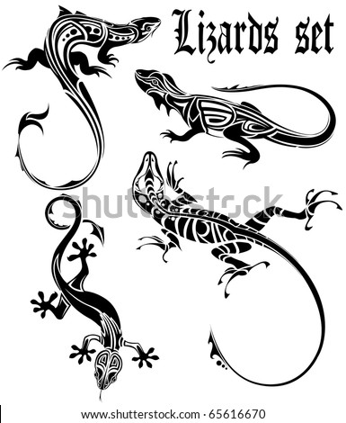 lizards set tattoo
