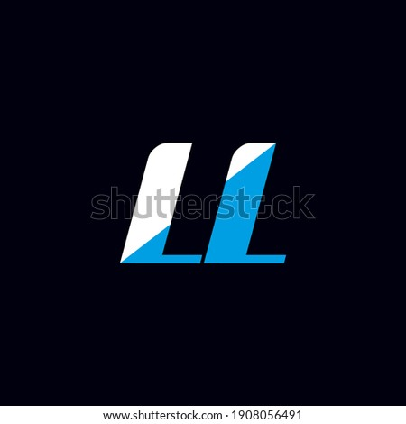 LL letter logo design on black background. LL creative initials letter logo concept. LL icon design. LL white and blue letter icon design on black background. L L Stock fotó ©