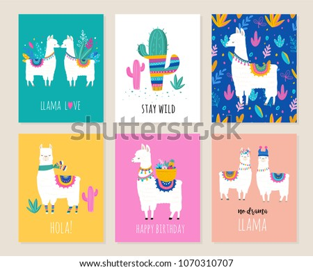 Llama and alpaca collection of cute hand drawn illustrations, cards and design for nursery design, poster, birthday greeting card