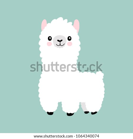 Llama cartoon alpaca. Lama animal vector isolated illustration. Cute funny hand drawn art. Design for card, sticker , fabric textile, t shirt. Children, kid modern trendy style