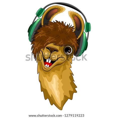 Llama Happy Music Dude with Headphones Vector illustration