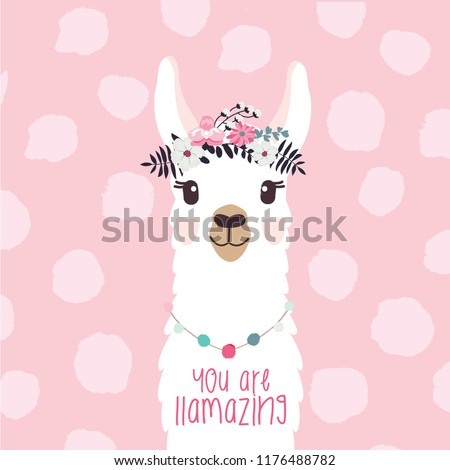"Llama illustration with fun quote ""You are llamazing"" to card, invitation, nursery, gifts, etc"