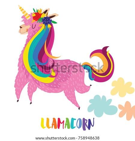 Llamacorn - funny cartoon character vector illustration.