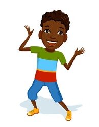 Llittle cheerful boy in bright clothes. African child laughs dance and plays an active game. He is wearing blue shorts and colorful t-shirt. Colorful illustration for Children's Day
