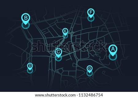 llocation on street map blue color.vector illustration