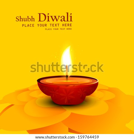 lluminated oil lamp on beautiful diwali background