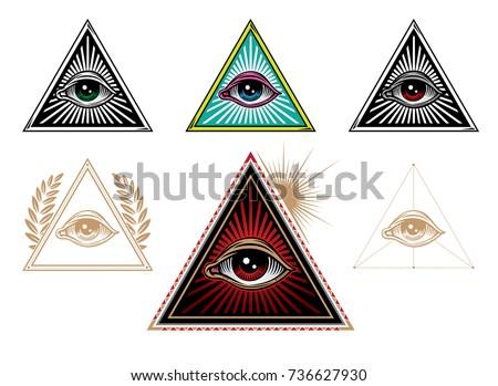 lluminati symbols. All seeing eye in delta triangle. vector illustration