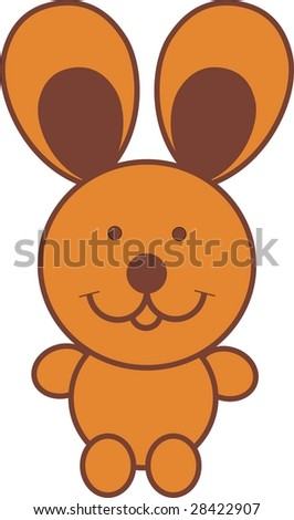 llustration cartoon of rabbit with big ears sit down