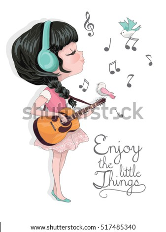 llustration girl vector listening to music on headfhones. Lovely music. Character design. Cute girl illustration. Template for design cards, notebook, shop, poster.