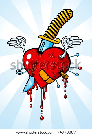 llustration of heart pierced with a knife