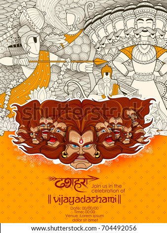llustration of Raavana with ten heads for Navratri festival of India poster with Hindi text Dussehra