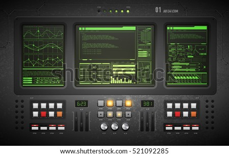 lo-fi user interface. Creative template in the style of science fiction. Old computer.