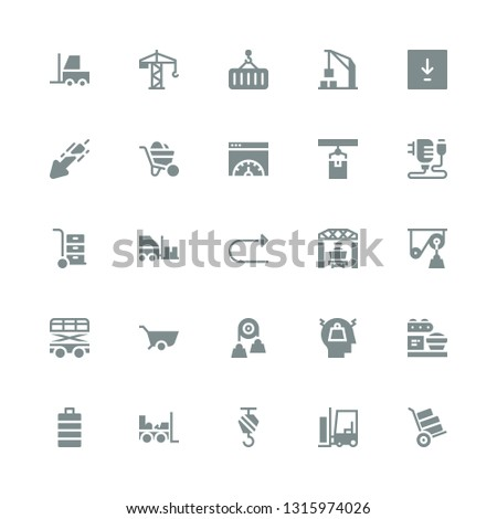load icon set. Collection of 25 filled load icons included Wheelbarrow, Forklift, Crane, Full battery, Loader, Stress, Pulley, Redo, Charger, Page speed, Download, Harbor crane