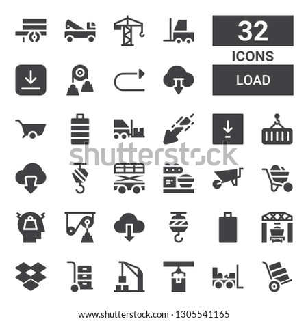 load icon set. Collection of 32 filled load icons included Wheelbarrow, Forklift, Crane, Harbor crane, Dropbox, Loader, Empty battery, Download, Pulley, Stress, Full battery, Redo