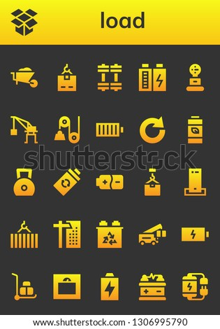 load icon set. 26 filled load icons.  Collection Of - Wheelbarrow, Dropbox, Crane, Weights, Battery, Weight, Pulley, Full battery, Redo, Charger