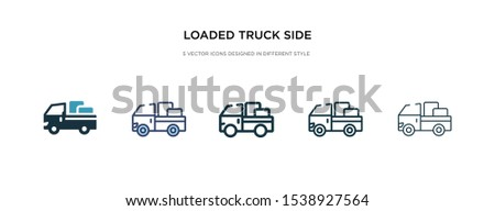 loaded truck side view icon in