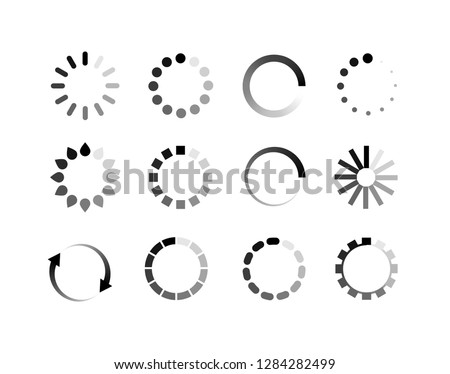 Loader icon vector circle button. Load sign symbol progress bar for upload download round process.