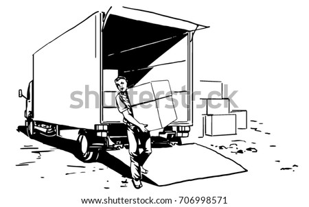 Loader unloads freight car. porter brings a boxes, unloading a lorry, delivery black and white vector sketch drawing