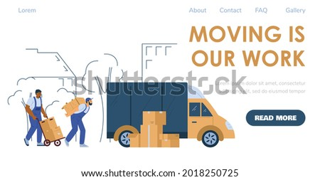 Loaders or porters services for house or office moving and relocation. Advertising web banner or webpage for shipping and delivery company, flat vector illustration. Сток-фото ©