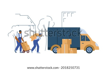 Loaders or porters unloading truck with furniture, flat vector illustration isolated on white background. Moving company, heavers and loading services. Сток-фото ©