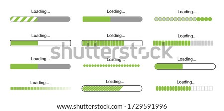 loading bar progress icons, load sign green vector illustration. System software update and upgrade concept. Vector illusration EPS 10