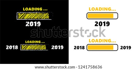 loading bar 2018 2019 vector