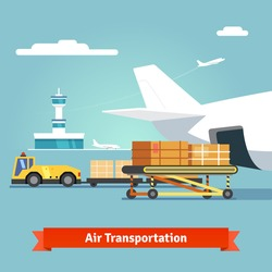 Loading boxes to a preparing to flight aircraft with platform of air freight. Air cargo transportation concept. Flat style illustration.
