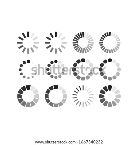 Loading circle simple black grey icon. Loading symbol for web vector.  Foto d'archivio ©