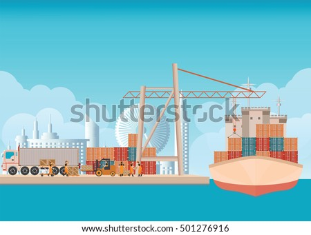 loading containers on a sea