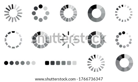 Loading icon design set.Collection of loading icons.Progress bar loading icon.Loading for site design.Vector illustration