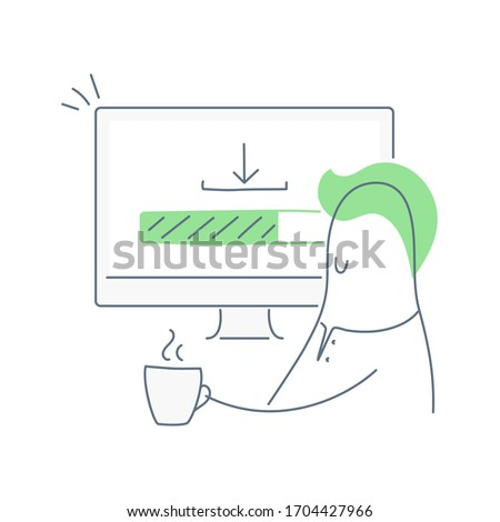Loading process, downloading bar. Cute cartoon man is sitting near his computer, drinking the coffee and waiting for a file, app, software or data package. Flat thin line vector on white background. stock photo