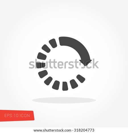 Loading, Reload Isolated Flat Web Mobile Icon / Vector / Sign / Symbol / Button / Element / Silhouette