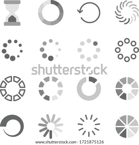 Loading symbol icon set vector illustration. Contains such icon as Hourglass, Waiting, Processing, Loader, Time, Buffering and more. Expanded Stroke Foto d'archivio ©