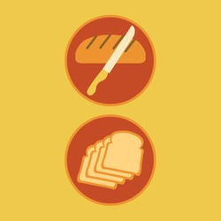 loaf of bread cartoon or bun symbol isolated cut with a knife & slices set of carbs flat design vector illustration. breakfast preparation or bakery icon. back fresh food. pastry sliced. make sandwich