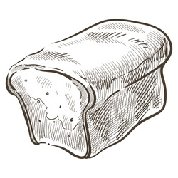 Loaf of homemade bread, isolated icon of bakery shop. Monochrome sketch outline of baked meal for breakfast or dinner. Cooked meal used as toast or snack, organic food, vector in flat style