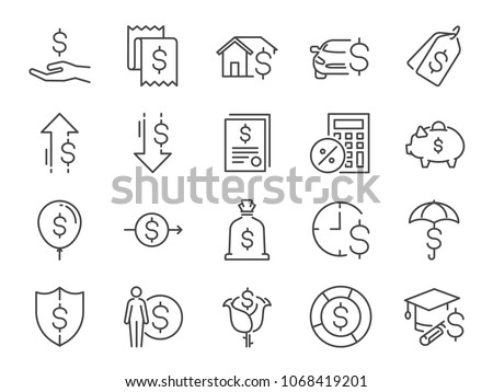 Loan and interest icon set. Included the icons as fees, personal income, house mortgage loan, car leasing, flat rate interest, installment, expense, financial ratio and more