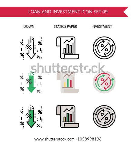 loan and investment icon set