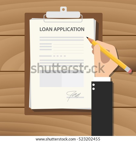 loan application form illustration with man signing a paper work document