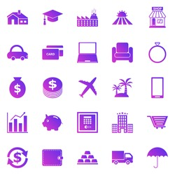 Loan gradient icons on white background, stock vector
